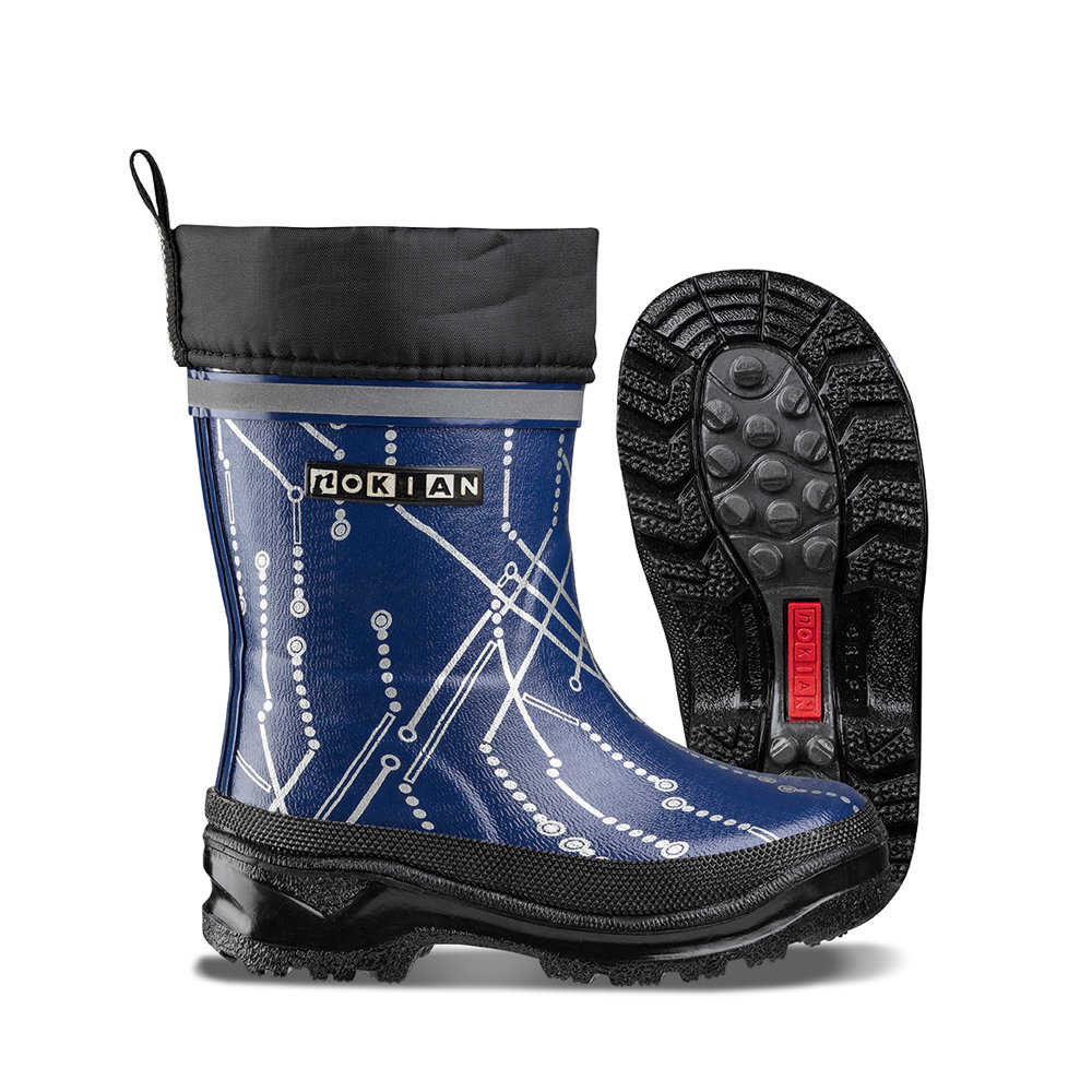 Nokian Footwear Wintry Plus Print rubber boot for children - Dark blue